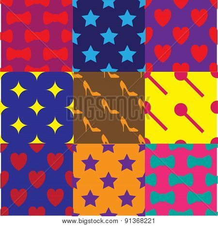 Bright girlie pattern/ background set