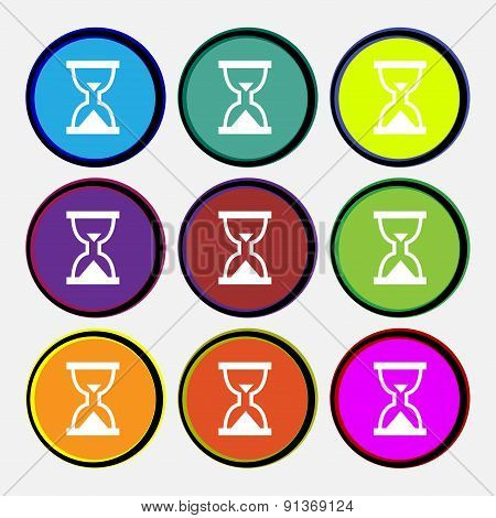 Hourglass, Sand Timer  Icon Sign. Nine Multi-colored Round Buttons. Vector