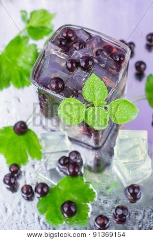 Lemonade. A Refreshing Summer Drink Blackcurrant