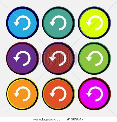 Upgrade, Arrow, Update  Icon Sign. Nine Multi-colored Round Buttons. Vector