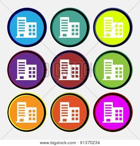 High-rise Commercial Buildings And Residential Apartments  Icon Sign. Nine Multi-colored Round Butto