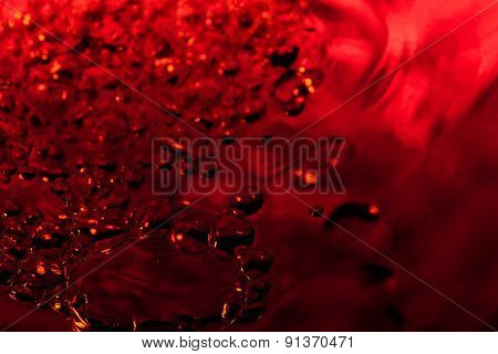 Red Abstract Background With Water Drops