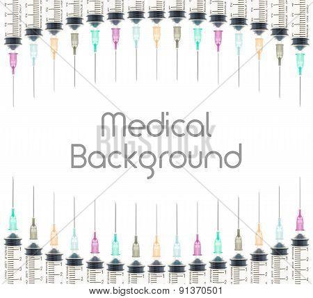 Five Color Medical Syringe Background On Curve Line Top And Bottom