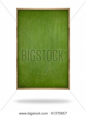Green blank vertical blackboard with wooden frame