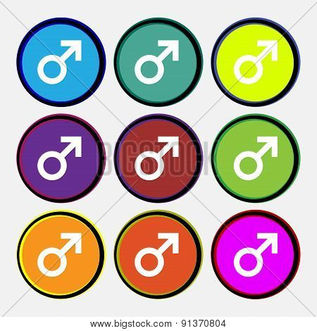 Male Sex Icon Sign. Nine Multi-colored Round Buttons. Vector