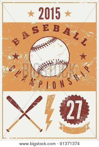 Baseball typographical vintage grunge style poster. Retro vector illustration.