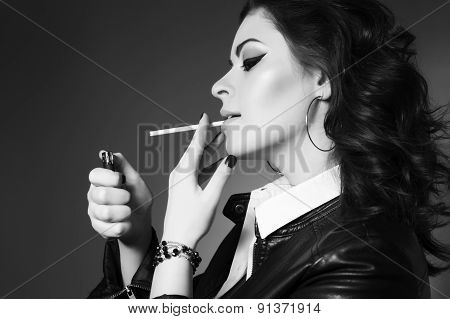 Young Beautiful Woman Smoking Cigarette, Addicted. Bad Habit. Messy Hairstyle. Black And White