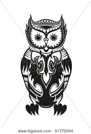 Owl With Ornaments In The Ethnic Style