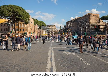 The Road To Colesseum In Rome, Italy.