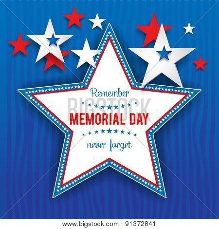 Stars on blue background with place for text.Holiday patriotic card for Independence day, Memorial day, Veterans day, Presidents day and so on.