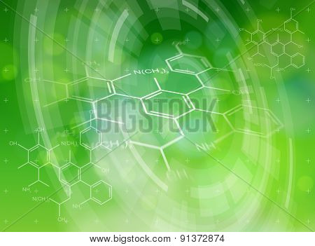 Ecology technology concept - chemical formulas, radial HUD elements & green bokeh abstract light background / vector illustration / eps10