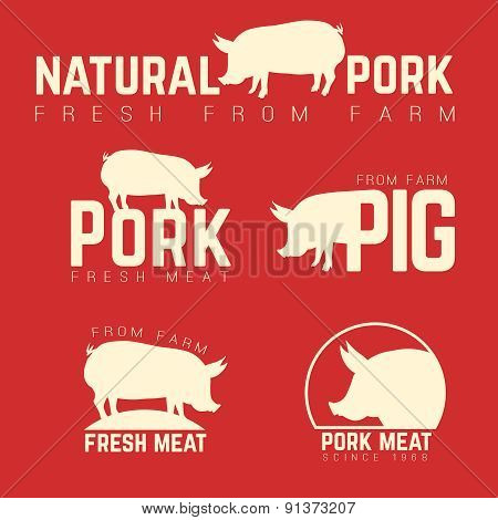 Set of pork emblems, logotypes and labels isolated white on red background