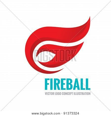 Fireball - vector logo concept illustration.