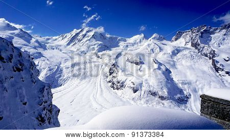 Snow Alps Mountains Landscape And Blue Sky