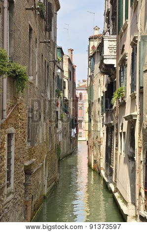 Narrow Waterway In Venice