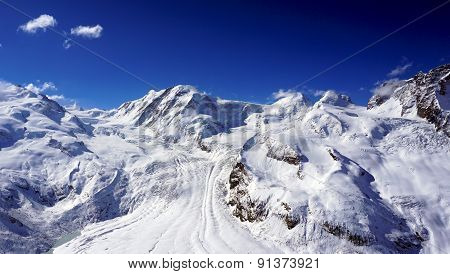 Snow Alps Mountains With Clouds