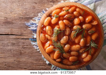 Beans In Tomato Sauce With Dill Horizontal Top View