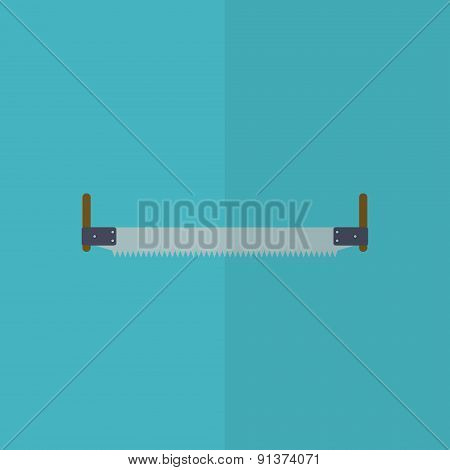 Two Handed Saw Flat Icon.   Editable And Design Suitable Vector Illustration.
