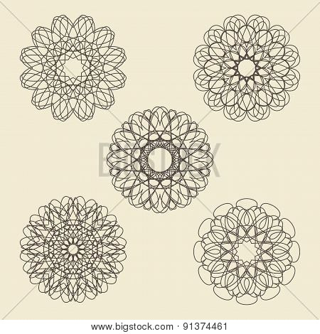 Round Ornament Set. Circle, Snowflake And Floral Ornament Linear Vector Illustration. Logo  Template