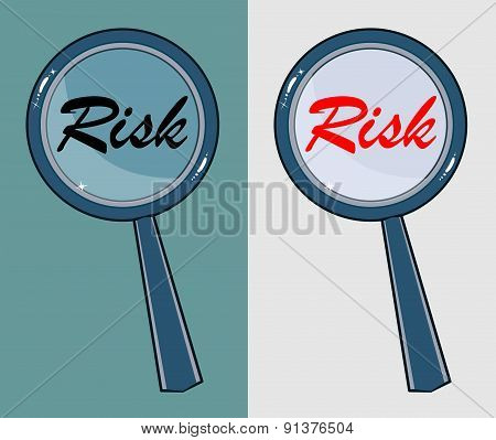 Magnifying glass with word risk on white background