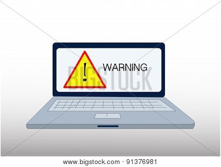 laptop computer with warning sign
