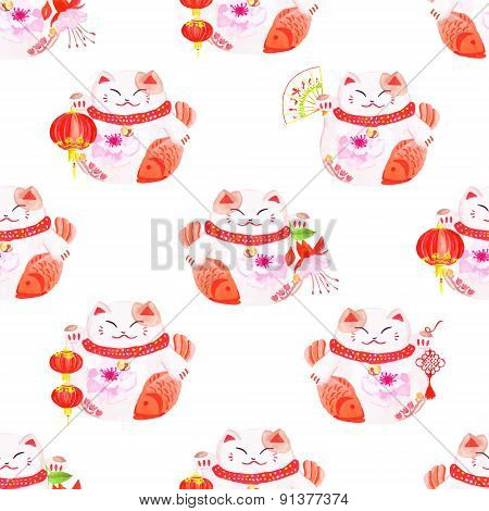 Lucky Cats Holding Chinese Koi Fishes Watercolor Seamless Vector Pattern