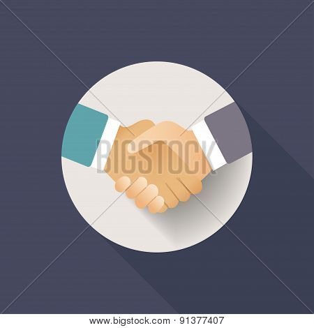 Flat Handshake Icon Colorful