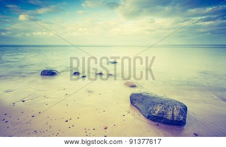 Vintage Photo Of Beautiful Landscape Of Rocky Sea Shore