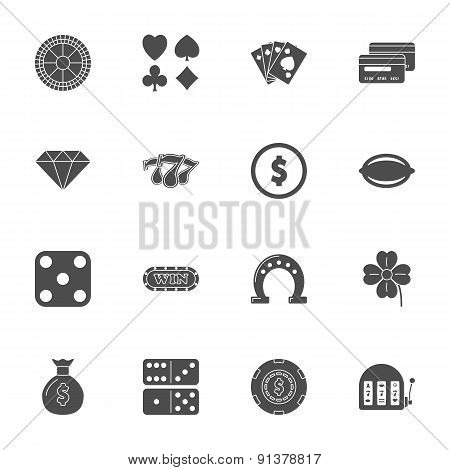 Casino Silhouette Icons Set