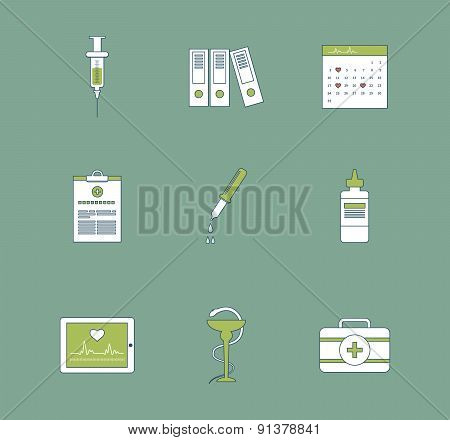 Set of medical icons. Healthcare system concept.