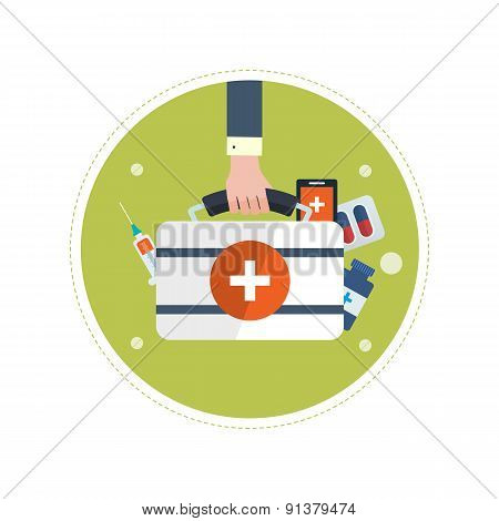 Flat design modern vector illustration concept for health care, medical help and medical research.