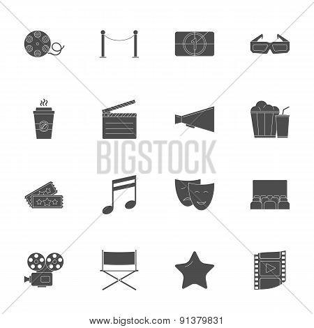 Cinema Silhouettes Icons Set