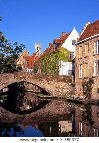 Canal with bridge, Bruges.