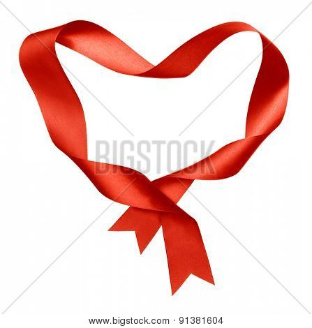 red heart shape frame from twisted silk ribbon isolated