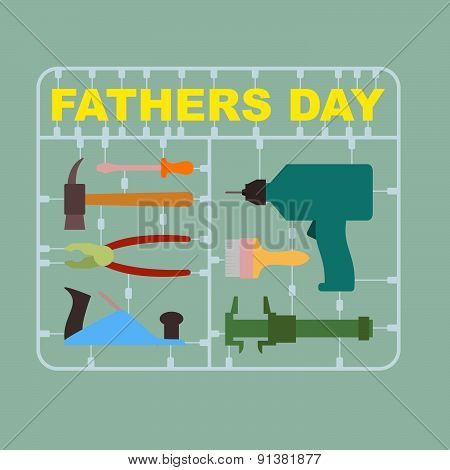 Father's day. A set of tools for men: drill and hammer, screwdriver and brush. Greeting card. Vector