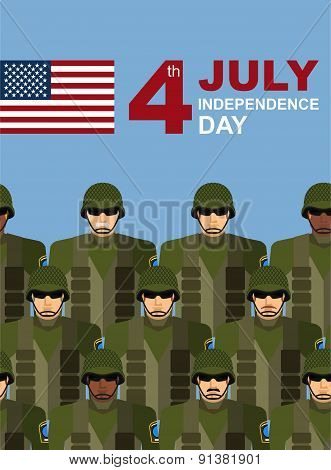 4th july. American independence day. Soldiers with military camouflage uniform in army formation. Ve