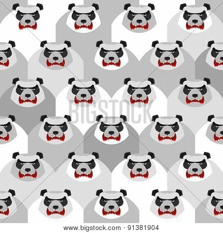 Angry Panda. Seamless vector pattern of ferocious bears. Vector background animals