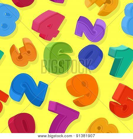 Seamless number pattern. Colorful figures. Children's background. Vector illustration