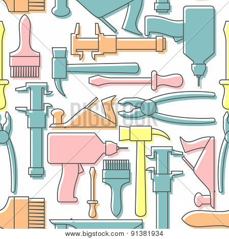 Tools seamless pattern. Drill and hammer, screwdriver and a plane. Vector Background pastel gentle t