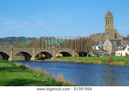 Peebles Town Bridge Over River Tweed