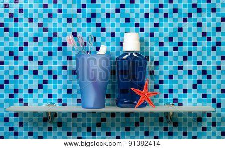 Shelf with bath accessories