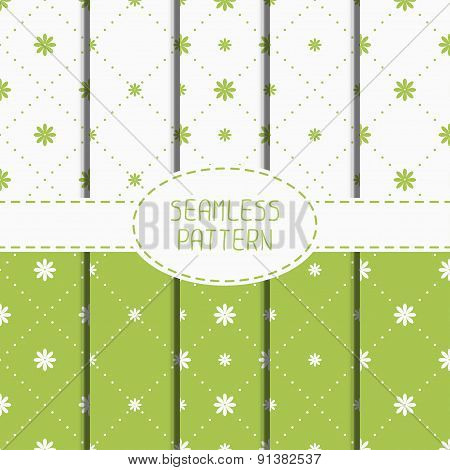 Set of green geometric floral seamless pattern with flowers. Collection of wrapping paper. Paper for