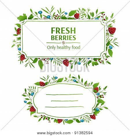 Beautiful banner, card, invitation or label. Spring, summer, autumn background. Strawberries and blu