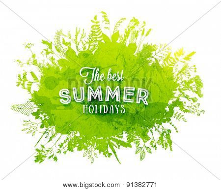 Floral Summer Background with Grass and Flowers, Watercolor Texture