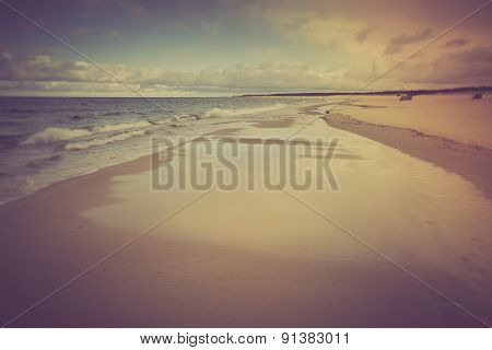 Vintage Photo Of Beautiful Beach Landscape