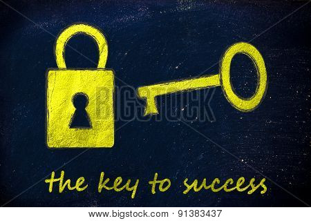 Golden Key And Lock, Metaphor Of Getting The Key To Success