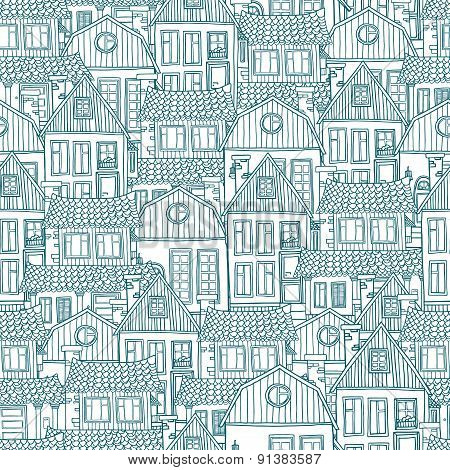 Seamless pattern with of hand-drawn houses. Vector