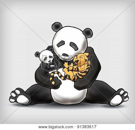 Panda Sitting With Her Child And Little Baby Tiger Illustration