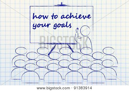 Seminar Or School Class With Mentor Teaching How To Achieve Your Goals
