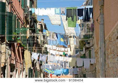 Venetian Alley with Clothes